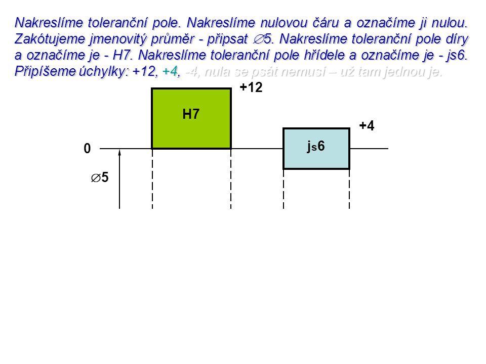 Nakreslíme toleranční pole. Nakreslíme nulovou čáru a označíme ji nulou. Zakótujeme jmenovitý průměr - připsat 5. Nakreslíme toleranční pole díry a označíme je - H7. Nakreslíme toleranční pole hřídele a označíme je - js6. Připíšeme úchylky: +12, +4, -4, nula se psát nemusí – už tam jednou je.