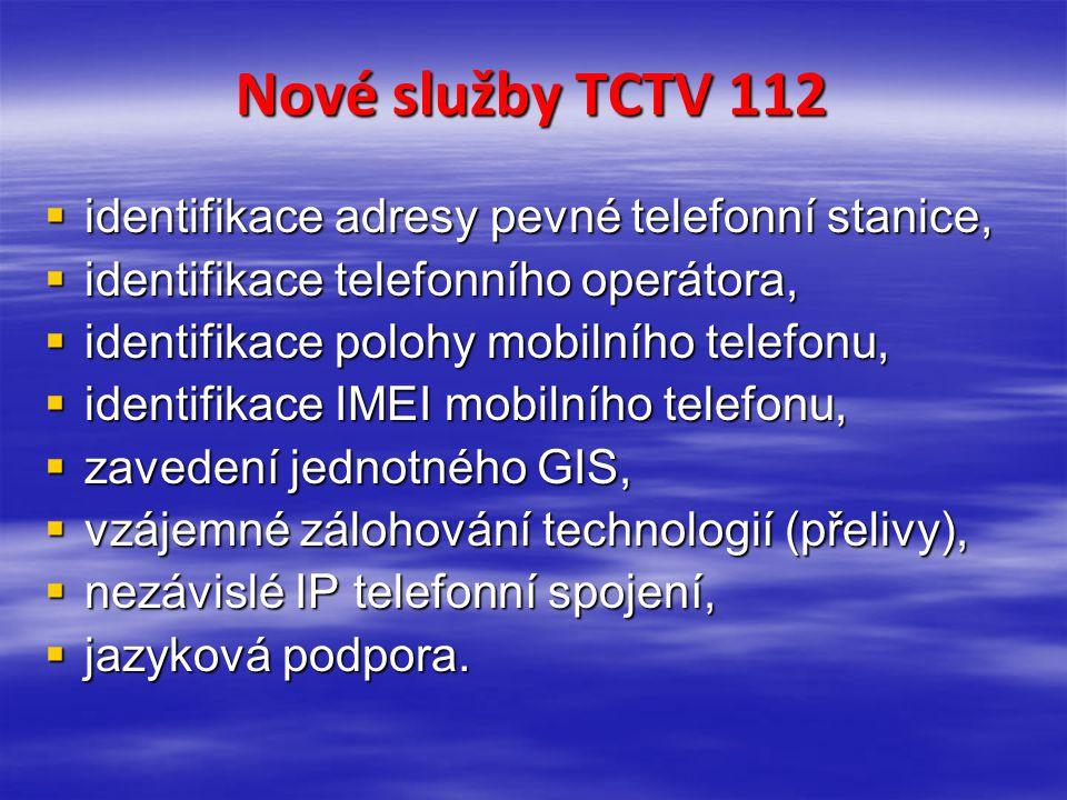Nové služby TCTV 112 identifikace adresy pevné telefonní stanice,