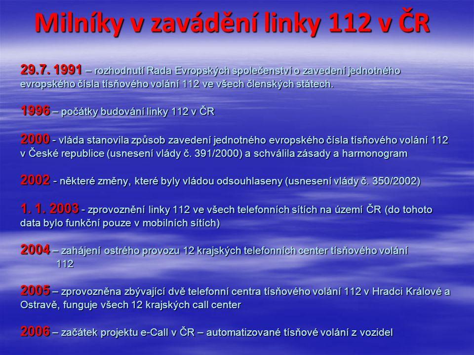 Milníky v zavádění linky 112 v ČR 29. 7