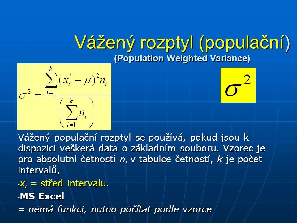 Vážený rozptyl (populační) (Population Weighted Variance)