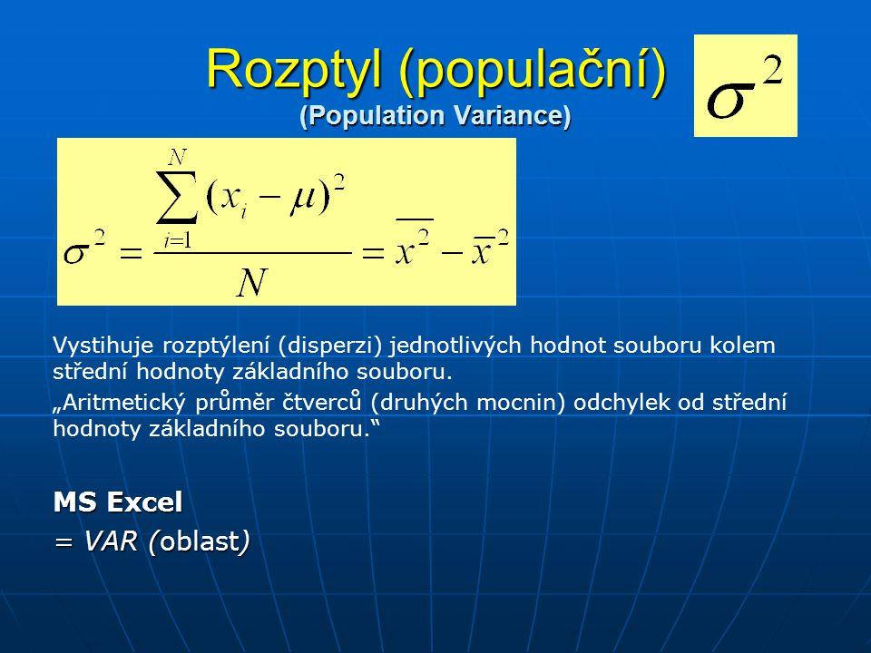 Rozptyl (populační) (Population Variance)