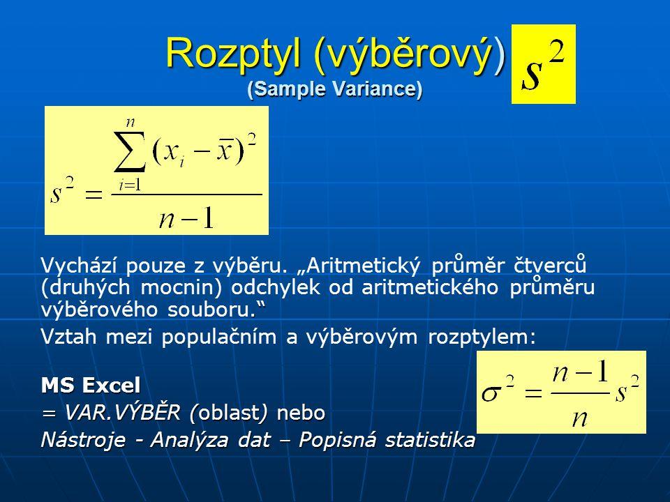 Rozptyl (výběrový) (Sample Variance)