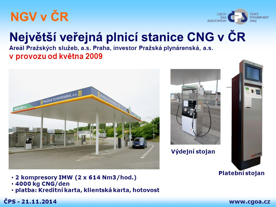 Největší veřejná plnicí stanice CNG v ČR