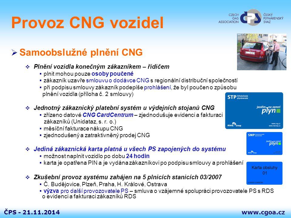Provoz CNG vozidel Samoobslužné plnění CNG
