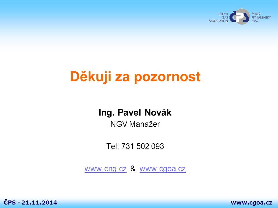 Děkuji za pozornost Ing. Pavel Novák NGV Manažer Tel: 731 502 093