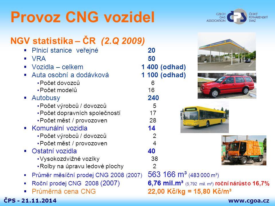 Provoz CNG vozidel NGV statistika – ČR (2.Q 2009)