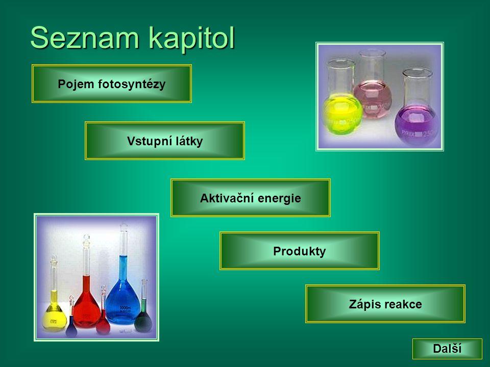 Seznam kapitol Pojem fotosyntézy Vstupní látky Aktivační energie