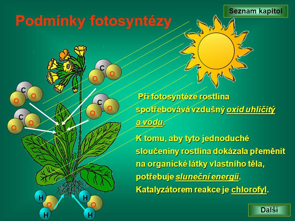 Seznam kapitol Podmínky fotosyntézy. C. O. C. O. Při fotosyntéze rostlina spotřebovává vzdušný oxid uhličitý a vodu.