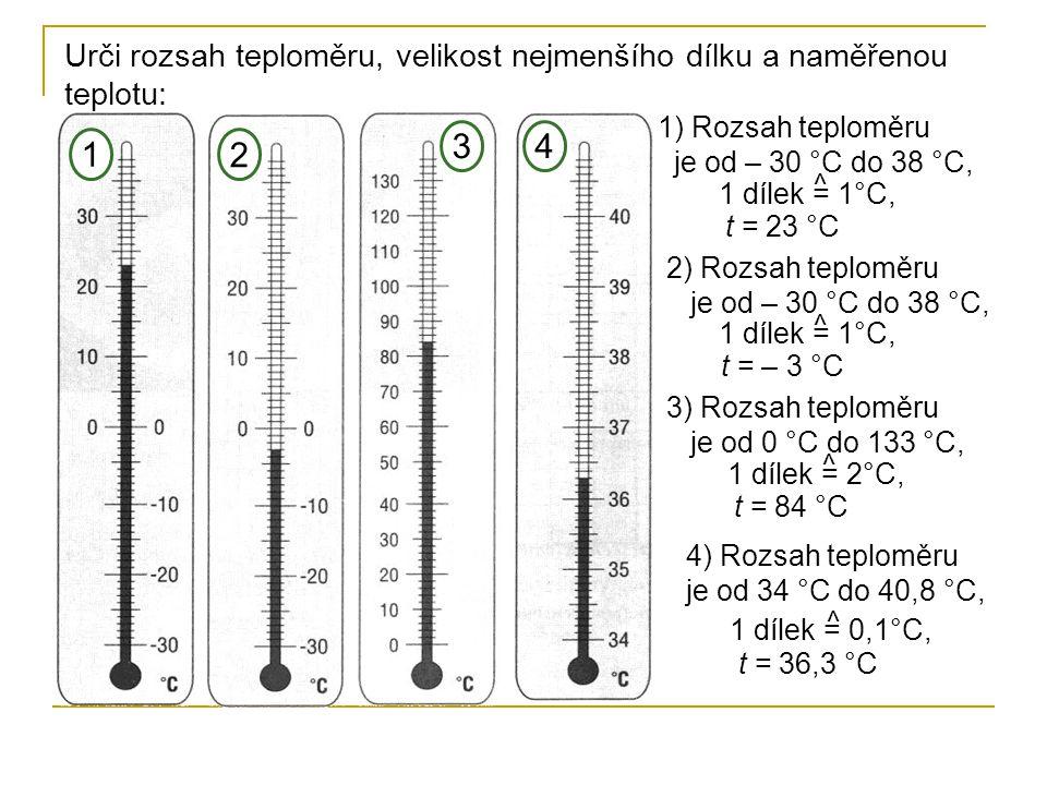 Urči rozsah teploměru, velikost nejmenšího dílku a naměřenou teplotu: