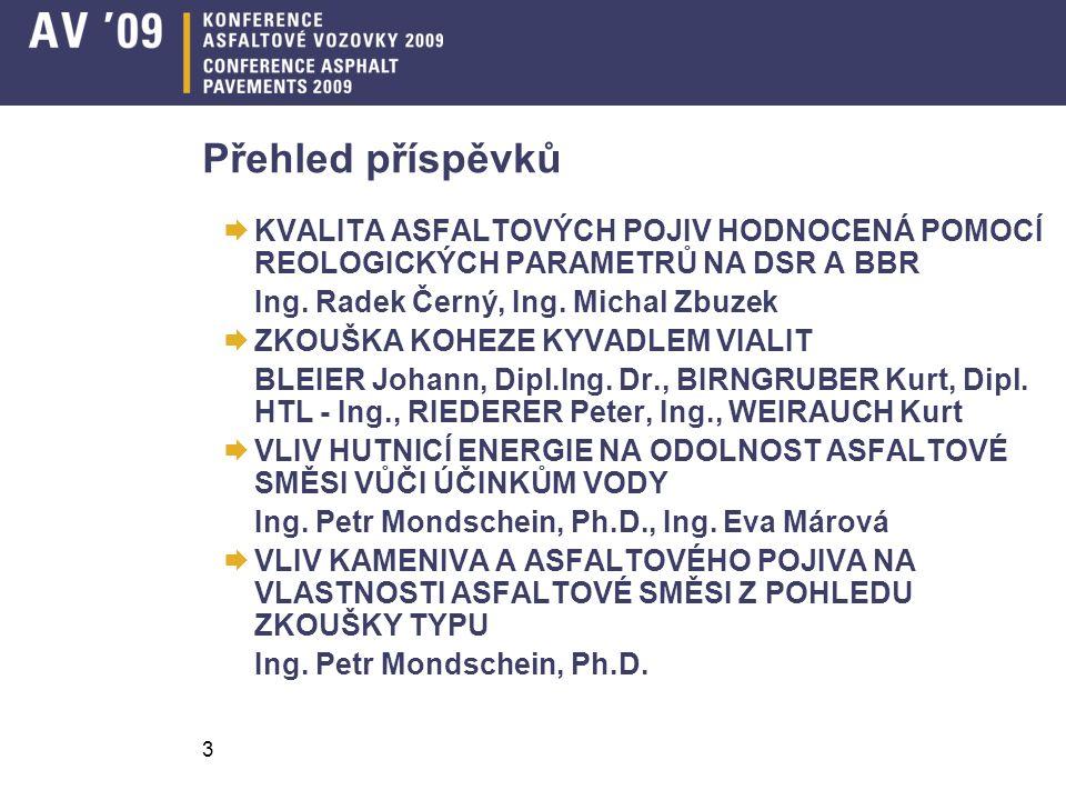 Přehled příspěvků KVALITA ASFALTOVÝCH POJIV HODNOCENÁ POMOCÍ REOLOGICKÝCH PARAMETRŮ NA DSR A BBR. Ing. Radek Černý, Ing. Michal Zbuzek.