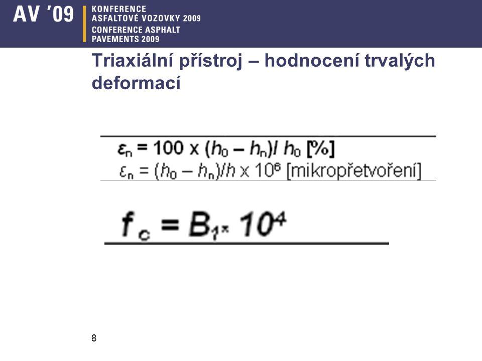 Triaxiální přístroj – hodnocení trvalých deformací