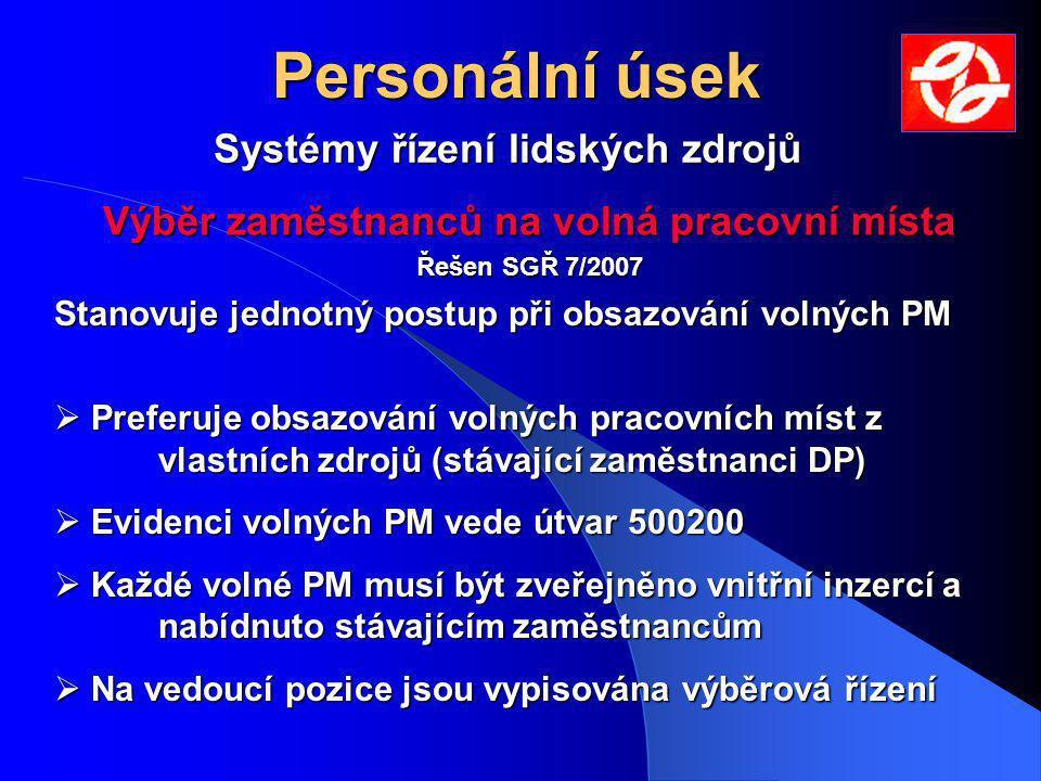 Výběr zaměstnanců na volná pracovní místa Řešen SGŘ 7/2007