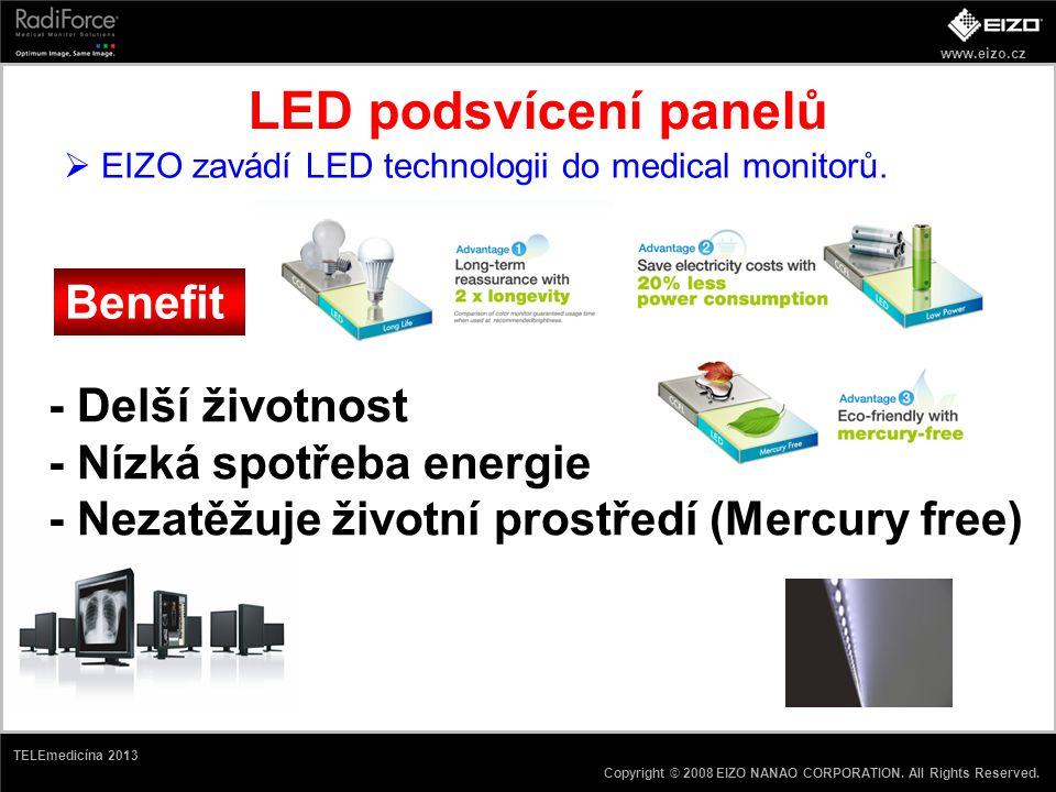 LED podsvícení panelů Benefit - Delší životnost