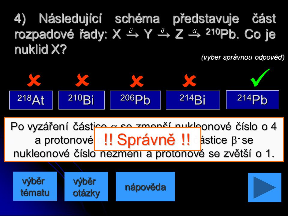 4) Následující schéma představuje část rozpadové řady: X → Y → Z → 210Pb. Co je nuklid X
