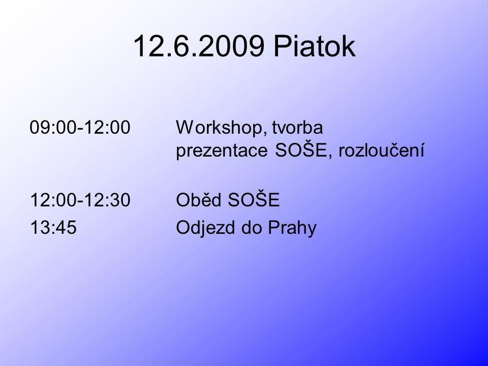 12.6.2009 Piatok 09:00-12:00 Workshop, tvorba prezentace SOŠE, rozloučení. 12:00-12:30 Oběd SOŠE.