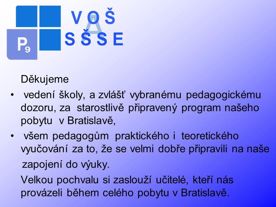 Děkujeme vedení školy, a zvlášť vybranému pedagogickému dozoru, za starostlivě připravený program našeho pobytu v Bratislavě,