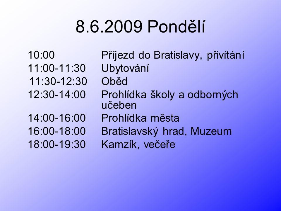 8.6.2009 Pondělí 10:00 Příjezd do Bratislavy, přivítání