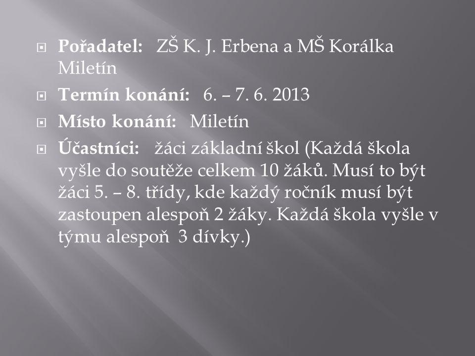 Pořadatel: ZŠ K. J. Erbena a MŠ Korálka Miletín