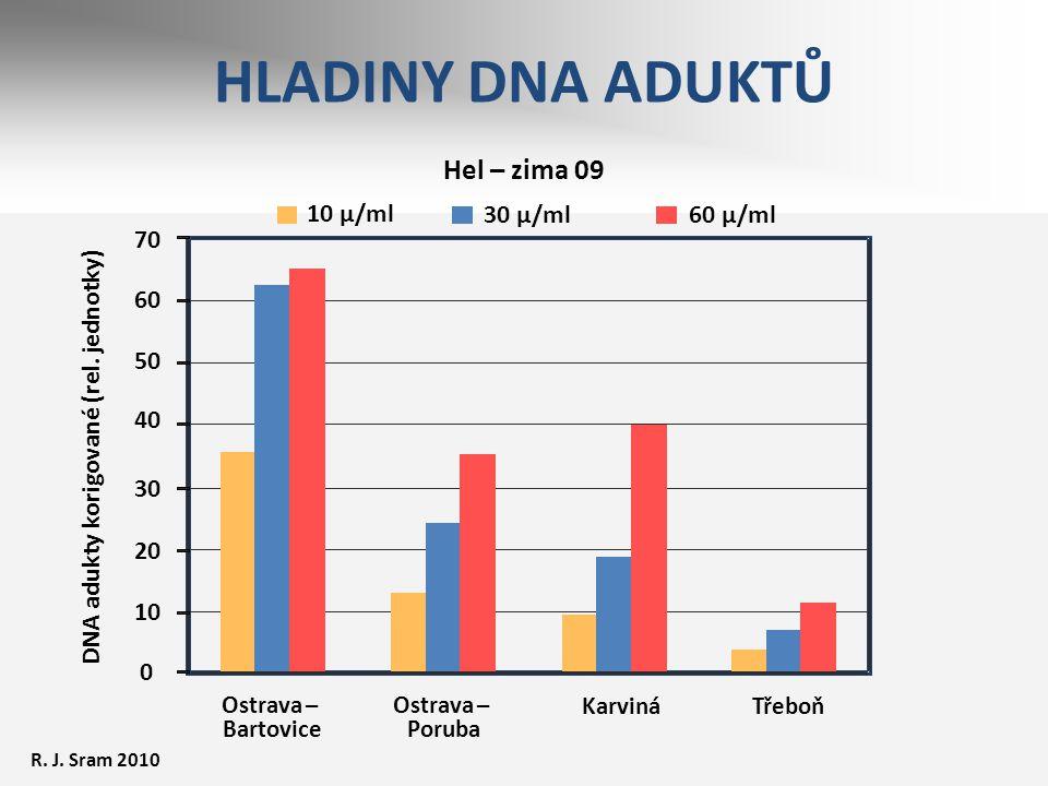 HLADINY DNA ADUKTŮ Hel – zima 09 10 µ/ml 30 µ/ml 60 µ/ml 70 60