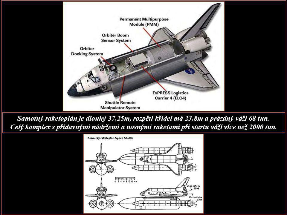 Samotný raketoplán je dlouhý 37,25m, rozpětí křídel má 23,8m a prázdný váží 68 tun.