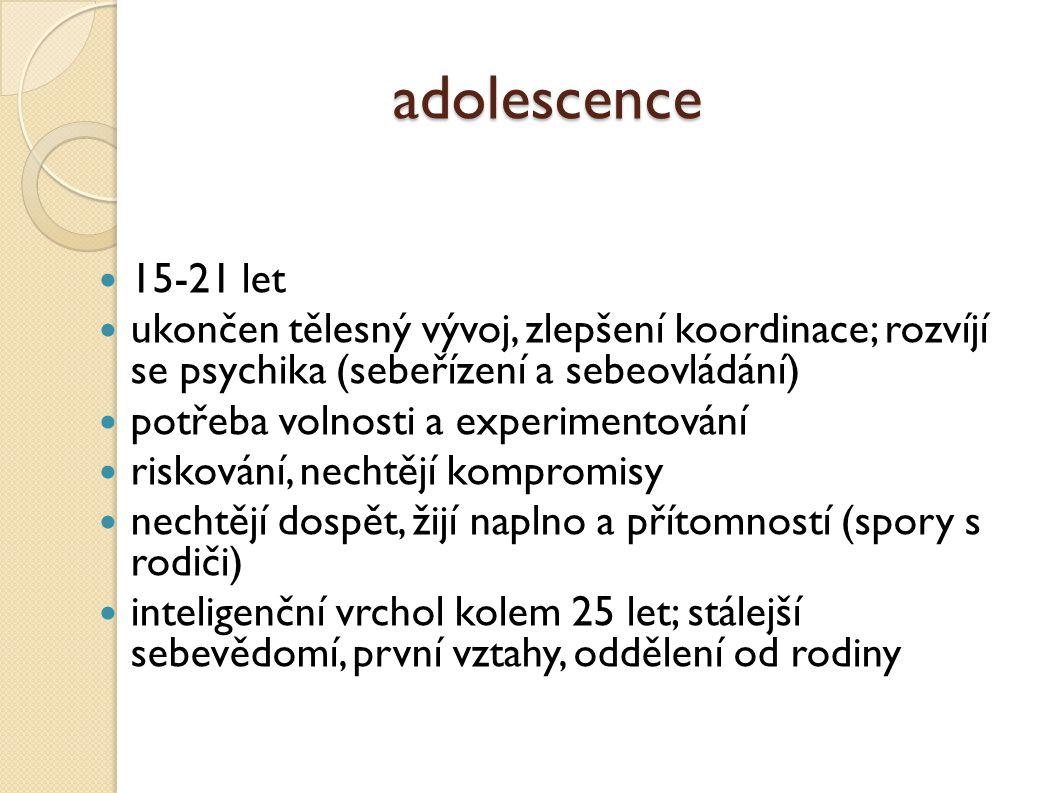 adolescence 15-21 let. ukončen tělesný vývoj, zlepšení koordinace; rozvíjí se psychika (sebeřízení a sebeovládání)