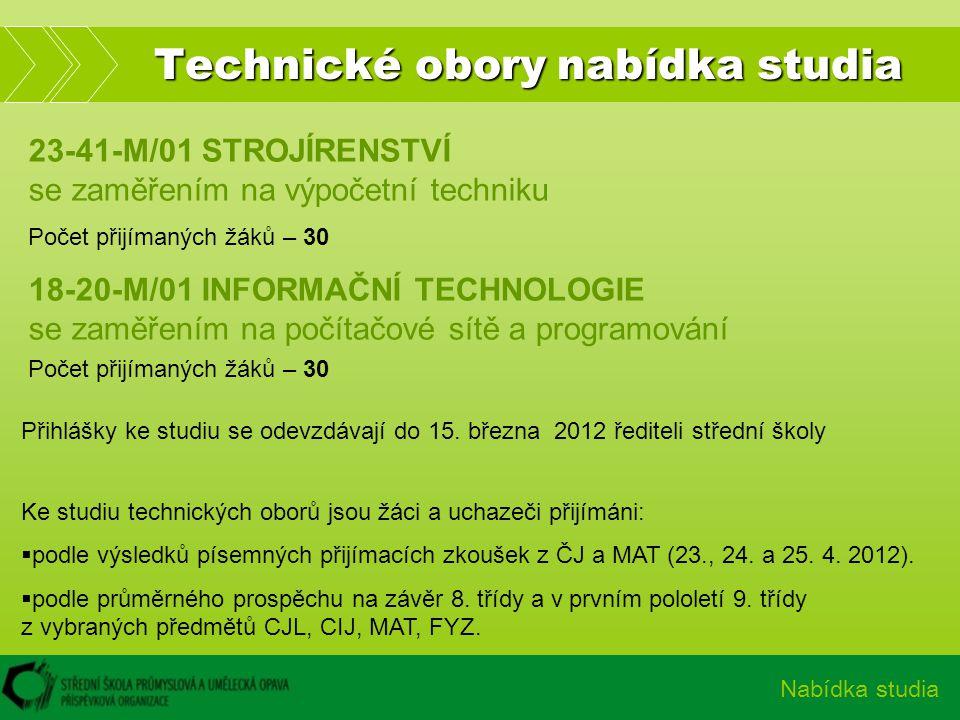 Technické obory nabídka studia