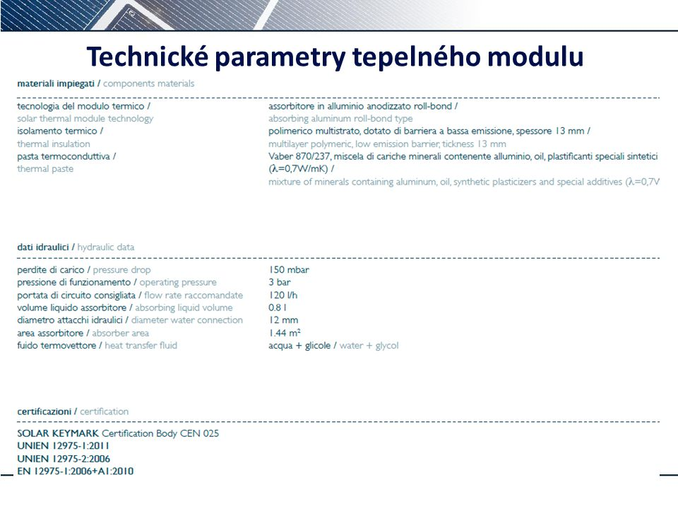 Technické parametry tepelného modulu