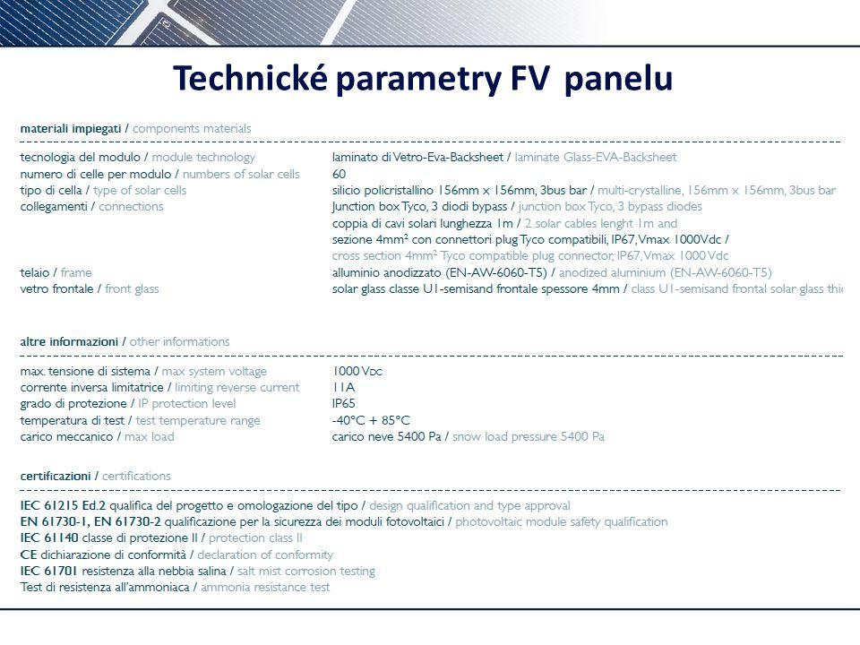 Technické parametry FV panelu