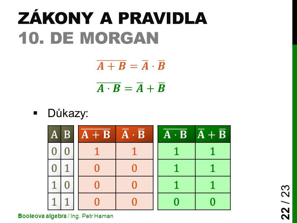 Zákony a pravidla 10. De Morgan