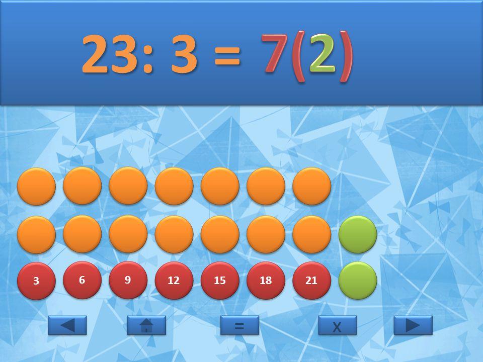 23: 3 = 7(2) 3 6 9 12 15 18 21 = x