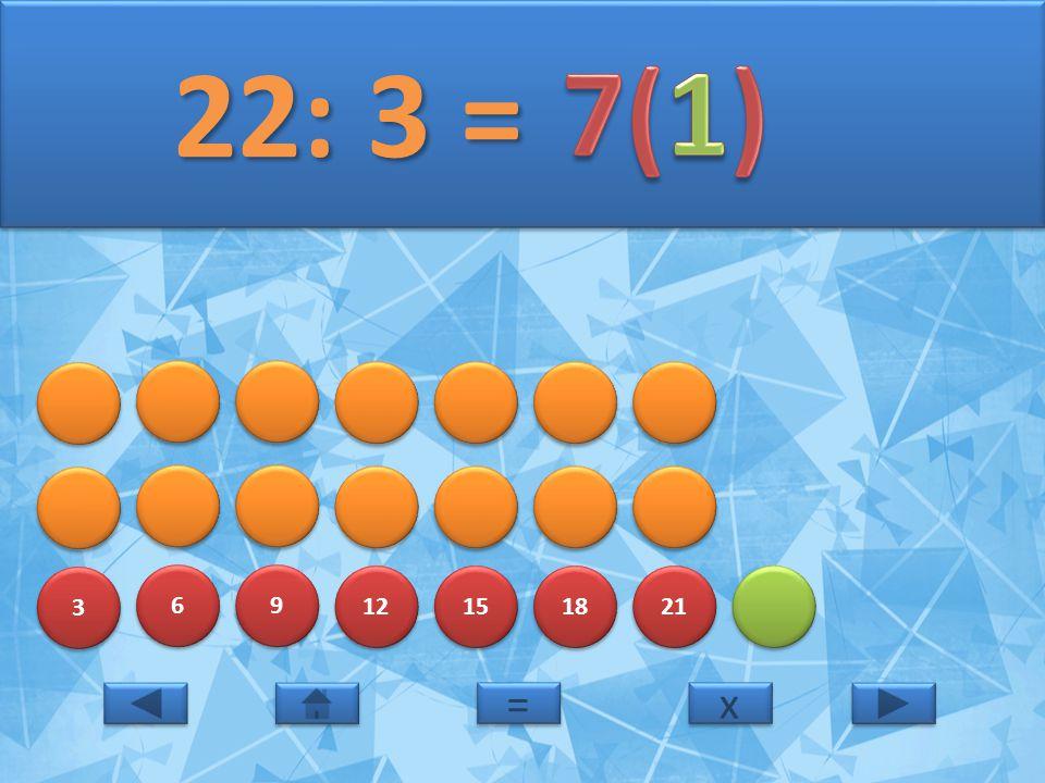 22: 3 = 7(1) 3 6 9 12 15 18 21 = x