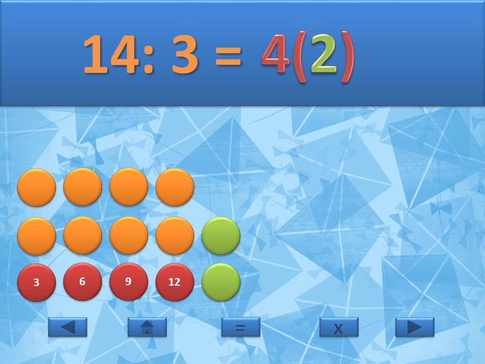 14: 3 = 4(2) 3 6 9 12 = x