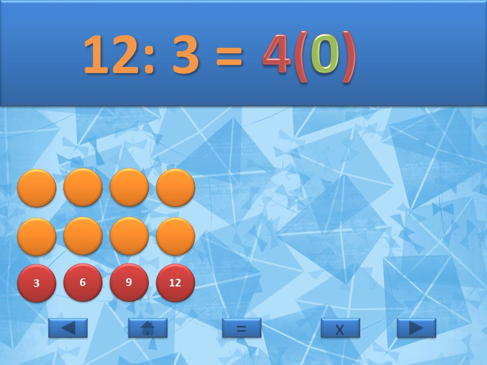 12: 3 = 4(0) 3 6 9 12 = x