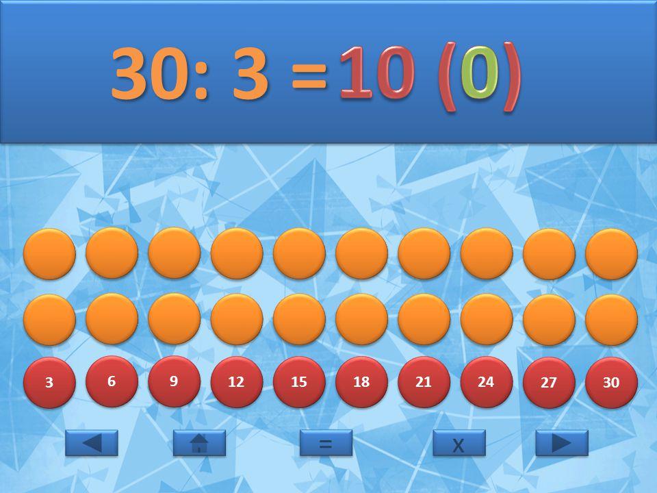30: 3 = 10 (0) 3 6 9 12 15 18 21 24 27 30 = x