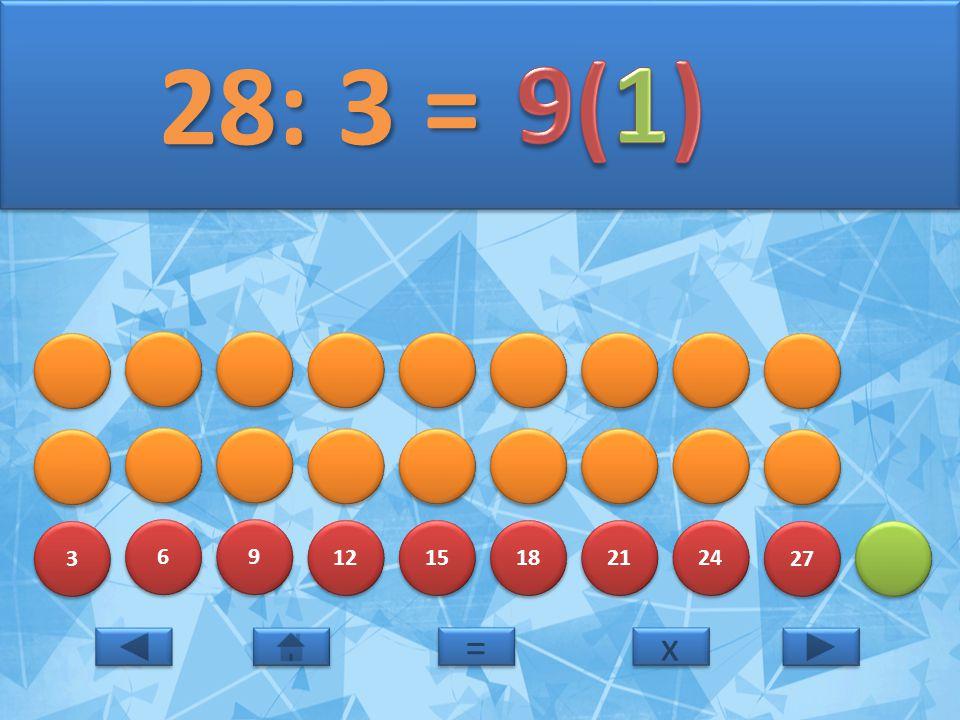28: 3 = 9(1) 3 6 9 12 15 18 21 24 27 = x