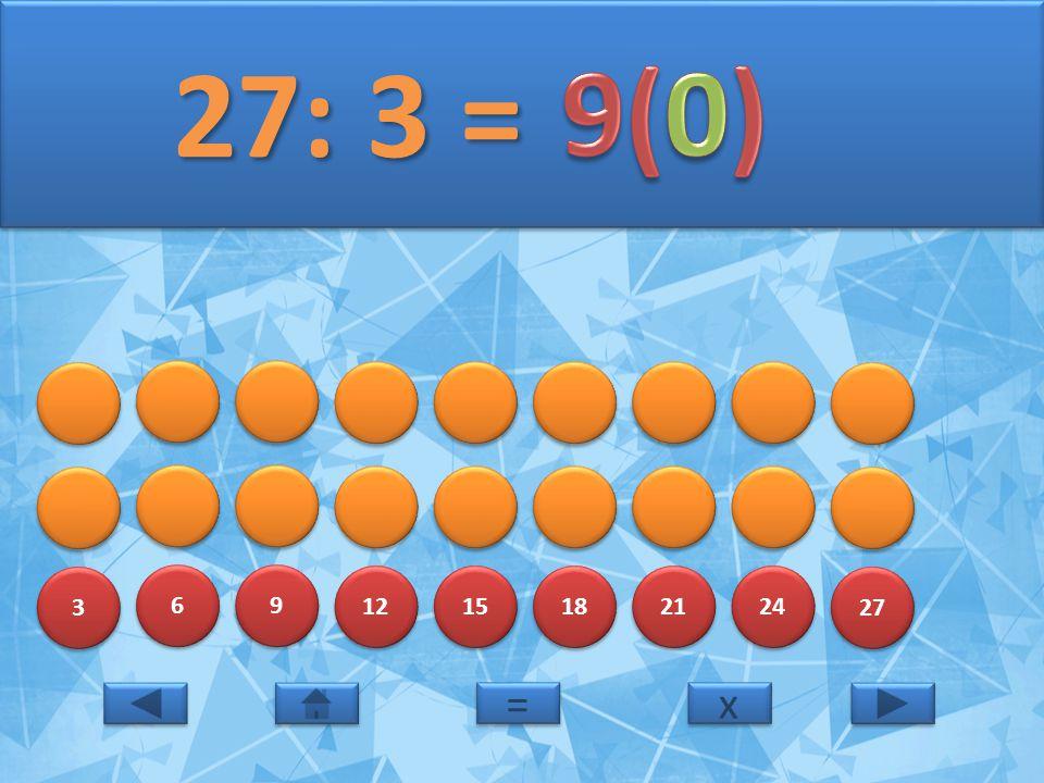 27: 3 = 9(0) 3 6 9 12 15 18 21 24 27 = x