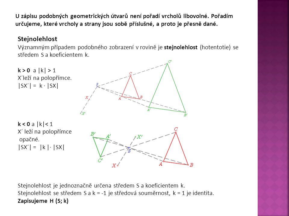 U zápisu podobných geometrických útvarů není pořadí vrcholů libovolné