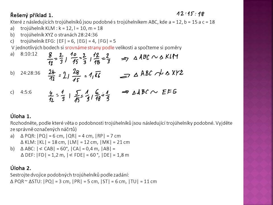 Řešený příklad 1. Úloha 1. Úloha 2.