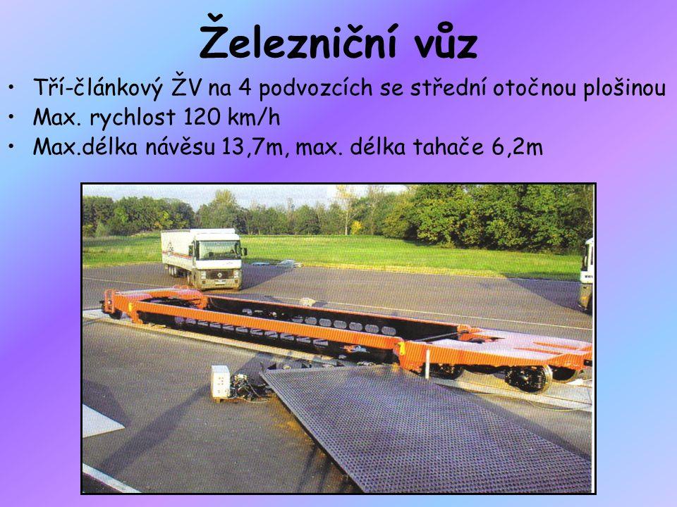 Železniční vůz Tří-článkový ŽV na 4 podvozcích se střední otočnou plošinou. Max. rychlost 120 km/h.