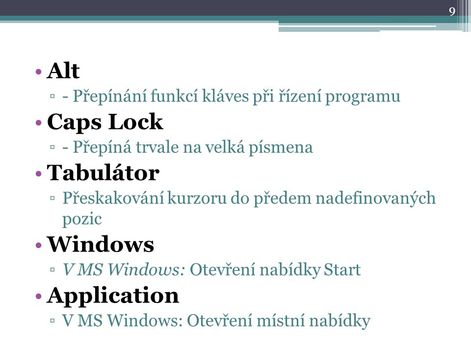Alt Caps Lock Tabulátor Windows Application