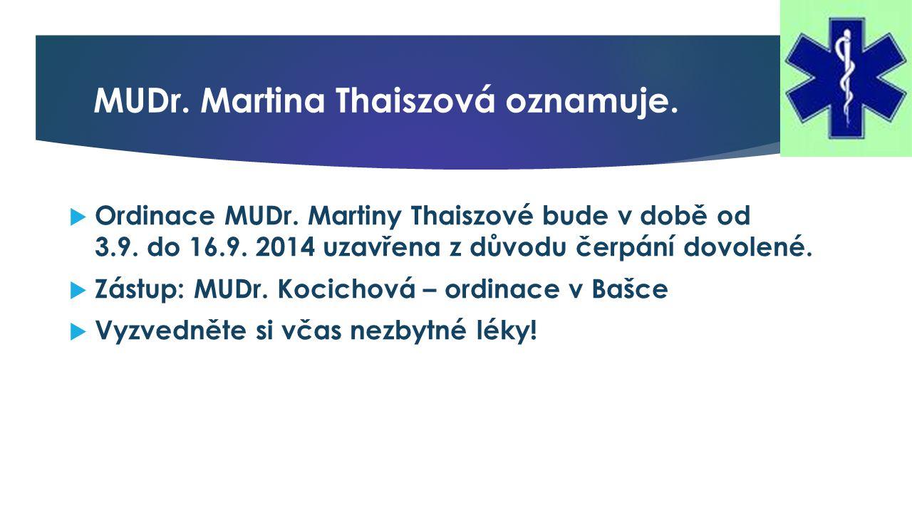 MUDr. Martina Thaiszová oznamuje.