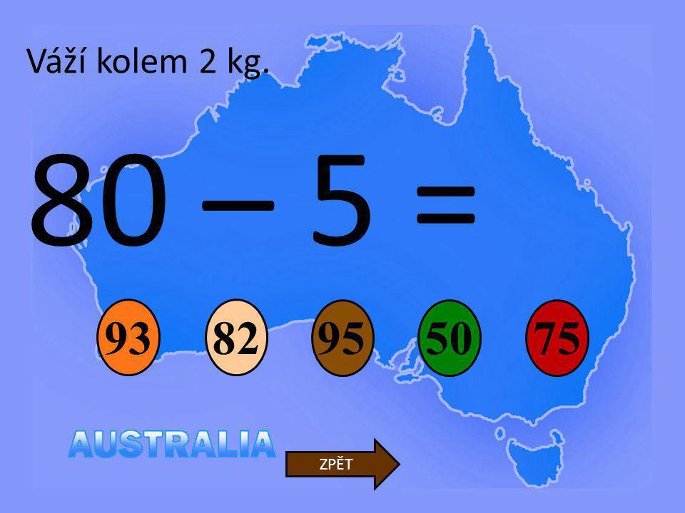 Váží kolem 2 kg. 80 – 5 = 93 82 95 50 75 ZPĚT
