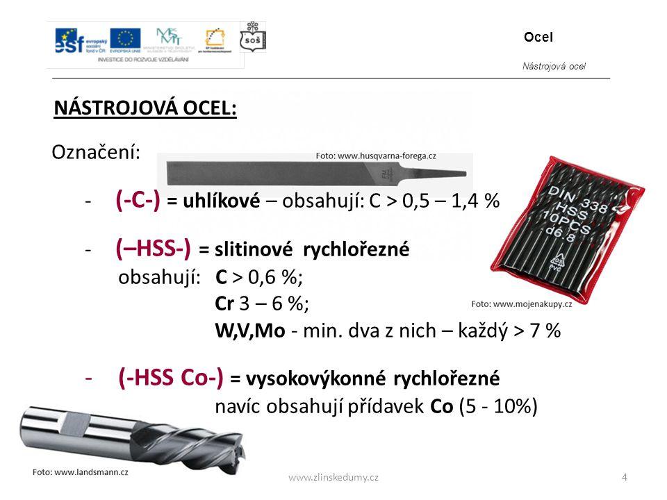 (-HSS Co-) = vysokovýkonné rychlořezné