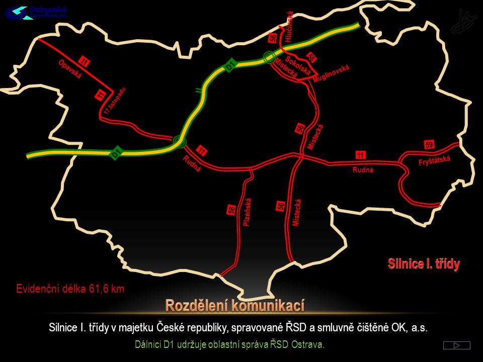 Rozdělení komunikací Silnice I. třídy Evidenční délka 61,6 km