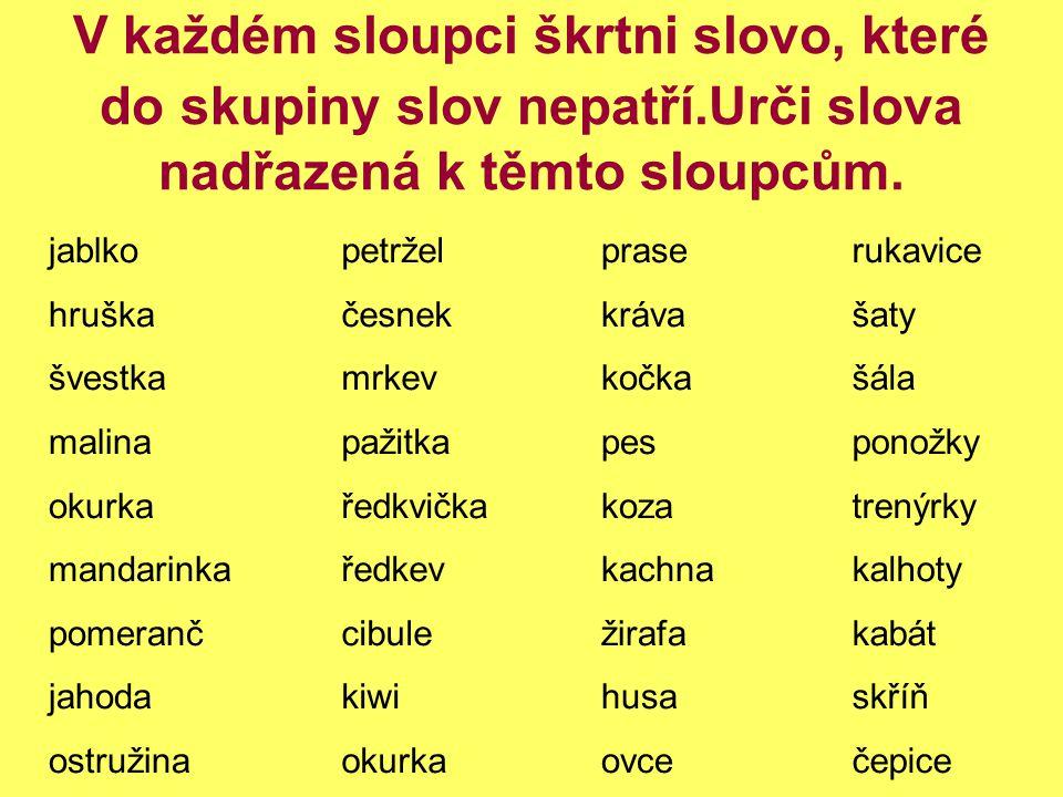 V každém sloupci škrtni slovo, které do skupiny slov nepatří