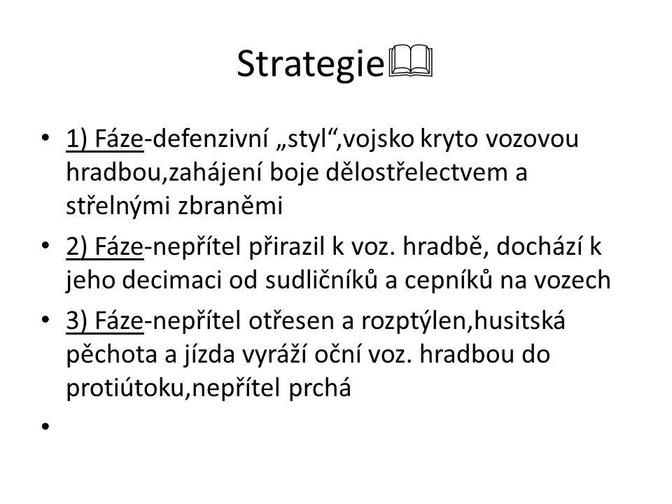 """Strategie 1) Fáze-defenzivní """"styl ,vojsko kryto vozovou hradbou,zahájení boje dělostřelectvem a střelnými zbraněmi."""