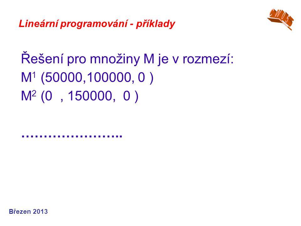 Řešení pro množiny M je v rozmezí: M1 (50000,100000, 0 )