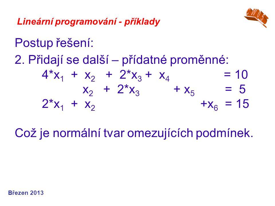2. Přidají se další – přídatné proměnné: 4*x1 + x2 + 2*x3 + x4 = 10