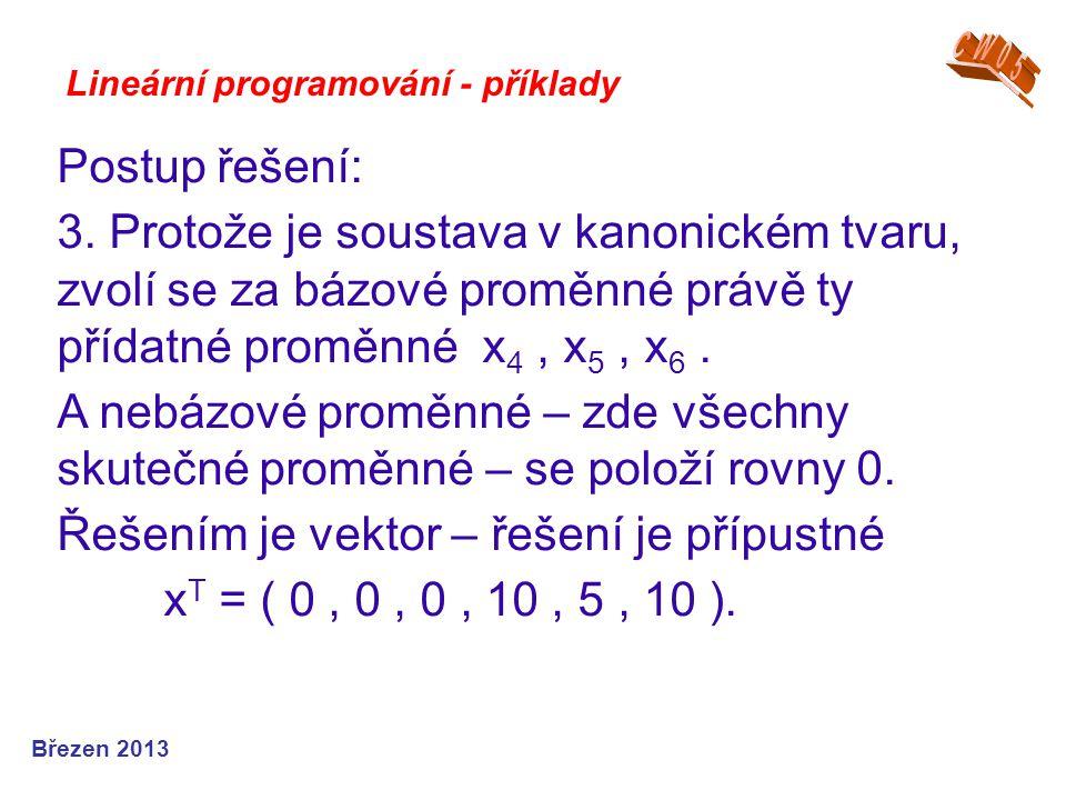 Řešením je vektor – řešení je přípustné