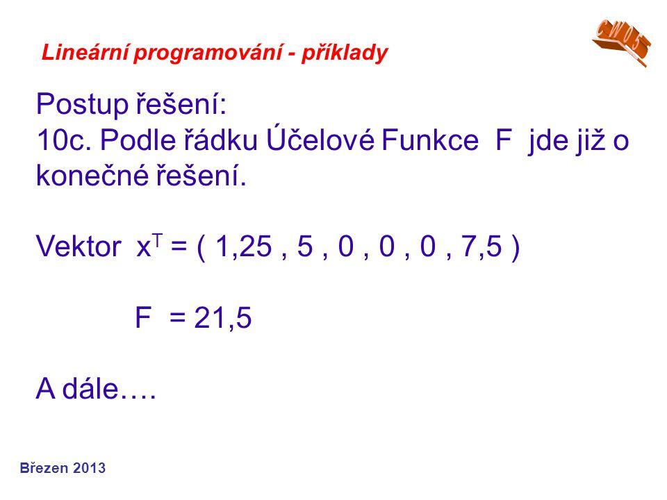10c. Podle řádku Účelové Funkce F jde již o konečné řešení.
